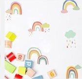 Muursticker regenboogjes met wolkjes - muurstickers babykamer