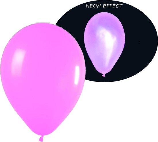 Neon UV roze ballonnen - 100 stuks | UV Feest Ballonnen