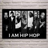 Allernieuwste Canvas Schilderij HipHop Rappers Ice Cube Snoop Dogg Tupac Shakur - 60 x 90 cm - Zwart Wit