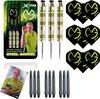 Afbeelding van het spelletje Michael van Gerwen - steeldarts - green edition - 23 gram - dartpijlen - gesigneerde foto - 9 dartshafts + 9 dartflights