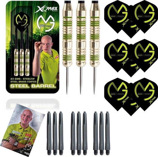 Michael van Gerwen - steeldarts - green edition - 23 gram - dartpijlen - gesigneerde foto - 9 dartshafts + 9 dartflights