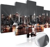Meubella - Afbeelding op acrylglas Gray City - 100x50 cm - 5-luik