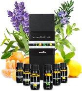 Essentiële Olie - Set - Etherische Olie - Geurolie - Voor Aromadiffuser & Oliebrander - Cadeauset - Met o.a. Lavendel olie - 6 stuks