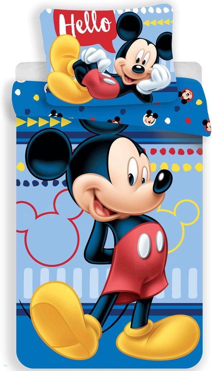 Disney Mickey Mouse Dekbedovertrek Hello - Eenpersoons - 140  x 200 cm - Blauw kopen