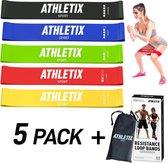 Athletix® - Weerstandsbanden Set van 5 - Met Gratis Draagtas en Oefeningen