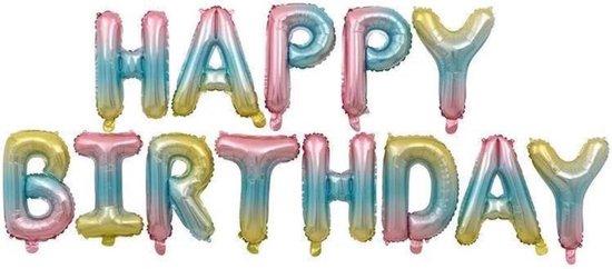 HAPPY BIRTHDAY Folie Ballonnen, Blauwe Regenboog, 13 stuks, 16 inch (40cm), Verjaardag, Feest, Party, Decoratie, Versiering, Miracle Shop