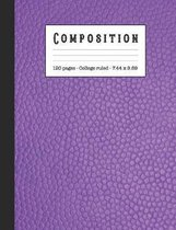 Composition: Wide ruled education composition notebook for school and college students and teachers - Purple sophisticated leather