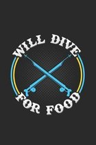 Will dive for food: 6x9 Spearfishing - dotgrid - dot grid paper - notebook - notes