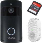 Deurbel met camera - inclusief chime, oplaadbare Panasonic batterijen & NL Handleiding - Draadloze Deurbel -  Video deurbel - Intercom - Zwart