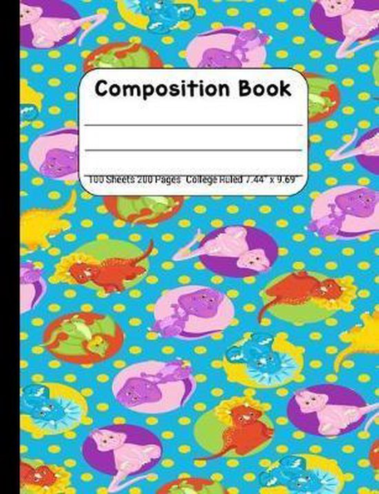 Composition Book College Rule: Journal Notebook for School Home or Work, Multicolor Dinosaurs on Teal Blue