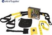 World of Supplies Suspension Trainer Pro Edition - Alternatief TRX - Resistance Band - Fitness zonder Gewichten - Sporten Thuis - Uitgebreide Gebruiksaanwijzing - Gratis Draagtas