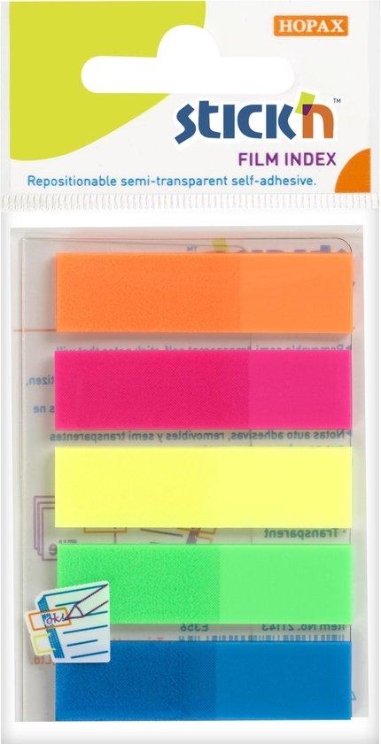 Afbeelding van Film Index tabs Stickn 45x12mm, 5x neon assorti kleuren, 25 tabs per kleur, totaal 125 index
