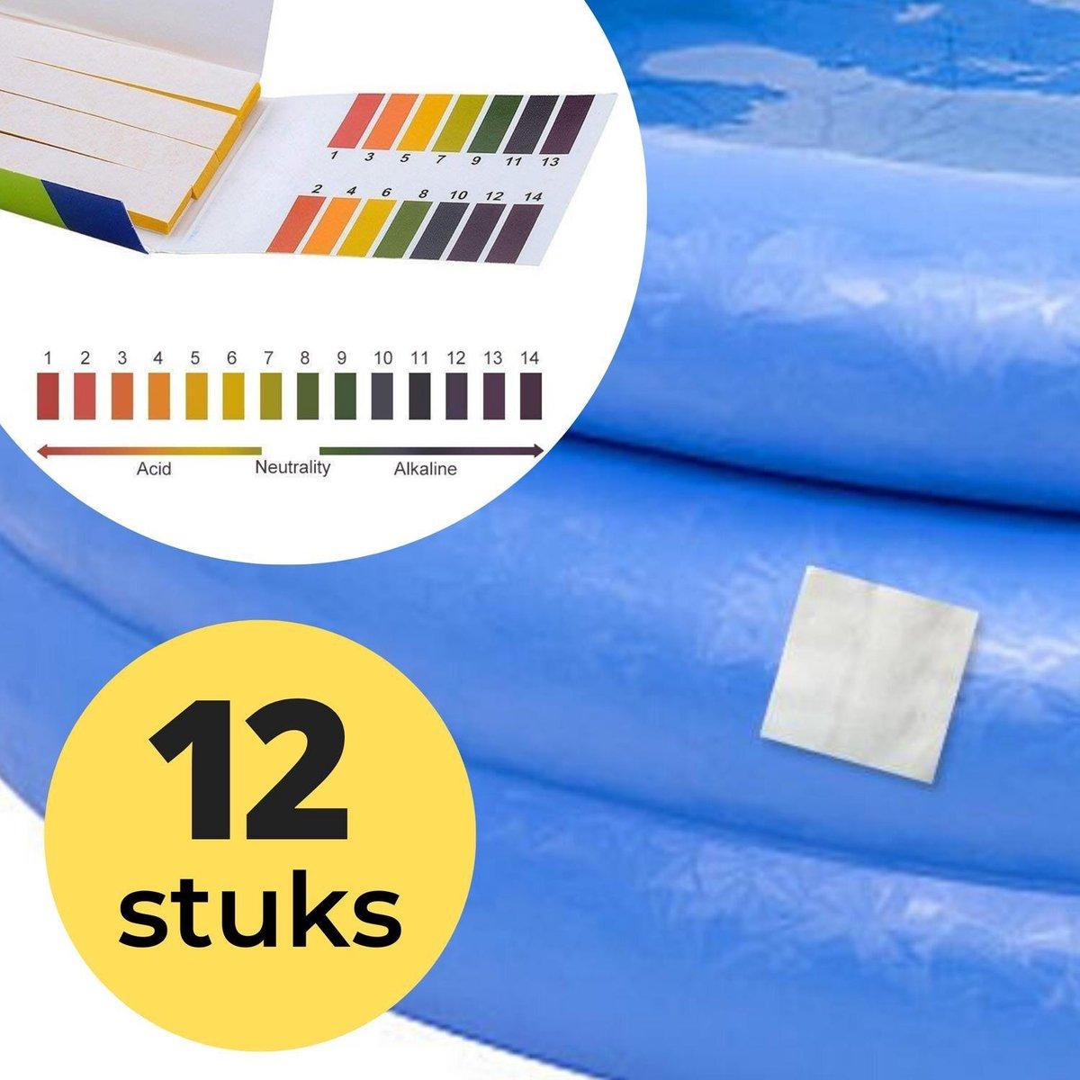 12x Zwembad Onderhoud Reparatie Set - Geschikt voor Opblaasbaar Zwembad en speelgoed met 80 PH meter strips - Pless®