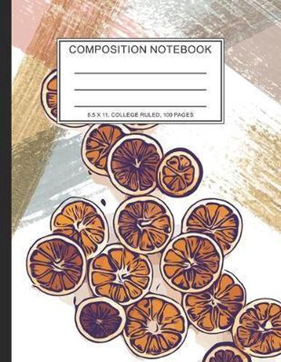 Composition Notebook: Cute Orange Composition Notebook 8.5 x 11, College Ruled, 100 pages for Teens Kids Students Girls for Home School Coll
