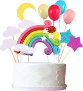 Fissaly® 13 Stuks Regenboog Happy Birthday Taarttopper & Caketopper Set – Taartversiering – Decoratie Topper