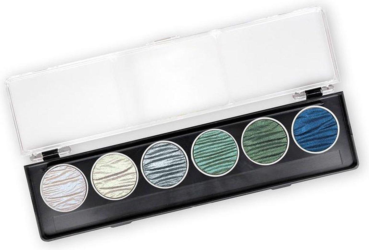"Finetec / Coliro 6 Pearlcolors Set Watercolor Napjes ""Ocean "" + 2 x Aquarel Blok A4 Papier 300g/m²"