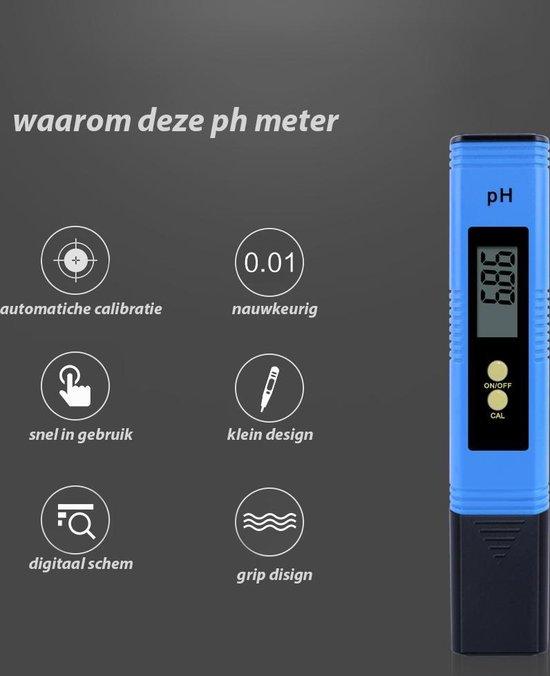 NKquality Digitale PH Meter Met 2 Kalibratie Zakjes, batterij en opberg box - Grip Design - Water - PH Meter Zwembad - Aquarium - Meter - Zuurtegraad Meten - Digitale PH Meter - Digitaal Kalibratie - pH indicator - Veilig Thuis - Blauw