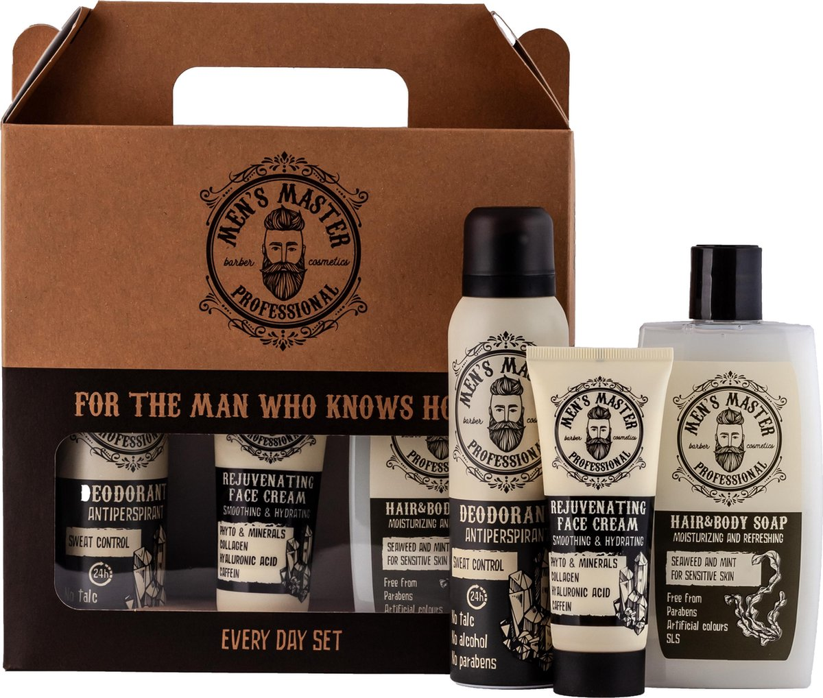 Men's Master Professional Every Day Set - Deodorant & Gezichtscr me & Hair & Body Soap   Geschenk  v