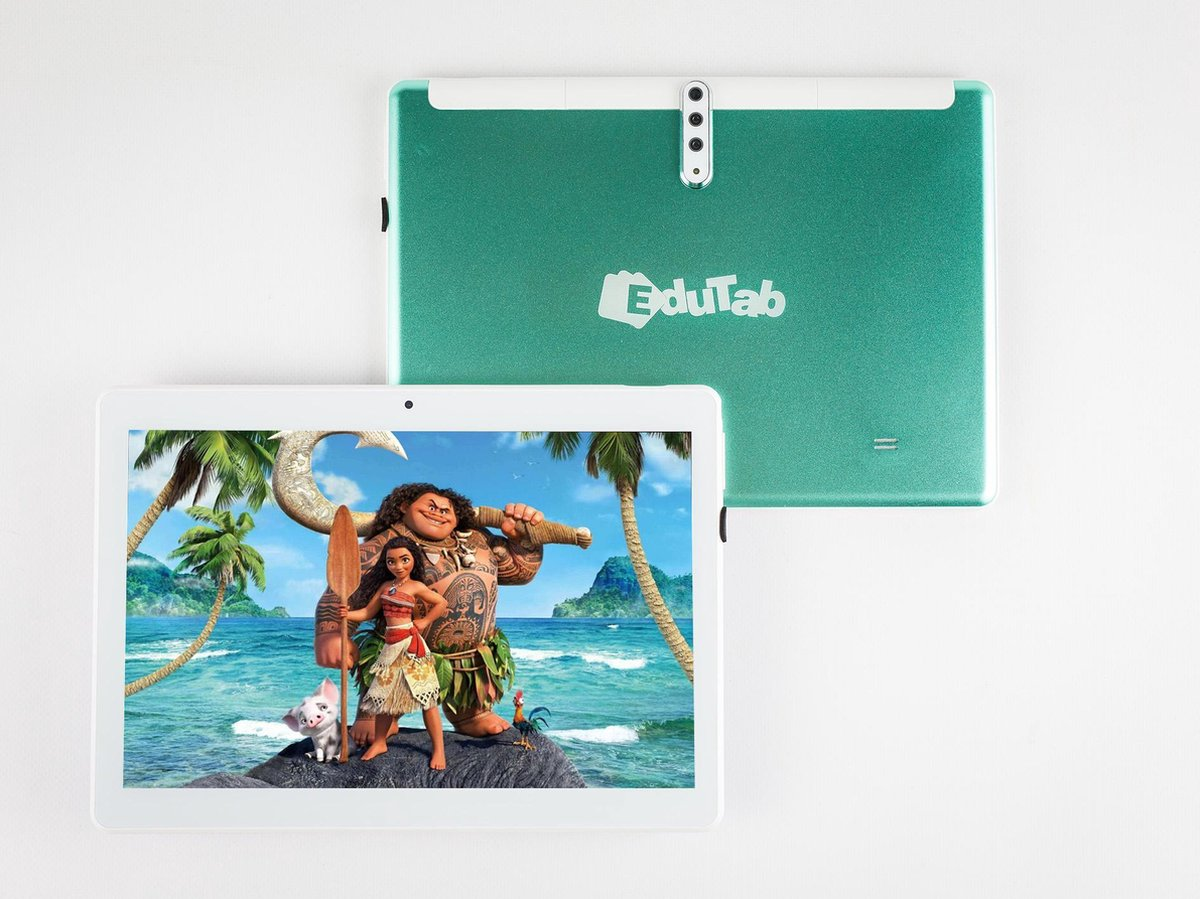 EduTab – Educatieve Kindertablet – 10 inch – 16GB – 3 Camera's – 5MP – 4G – Android 9.0 – Blauw Groen – Tablet – Incl. Gratis Toetsenbord & Houder