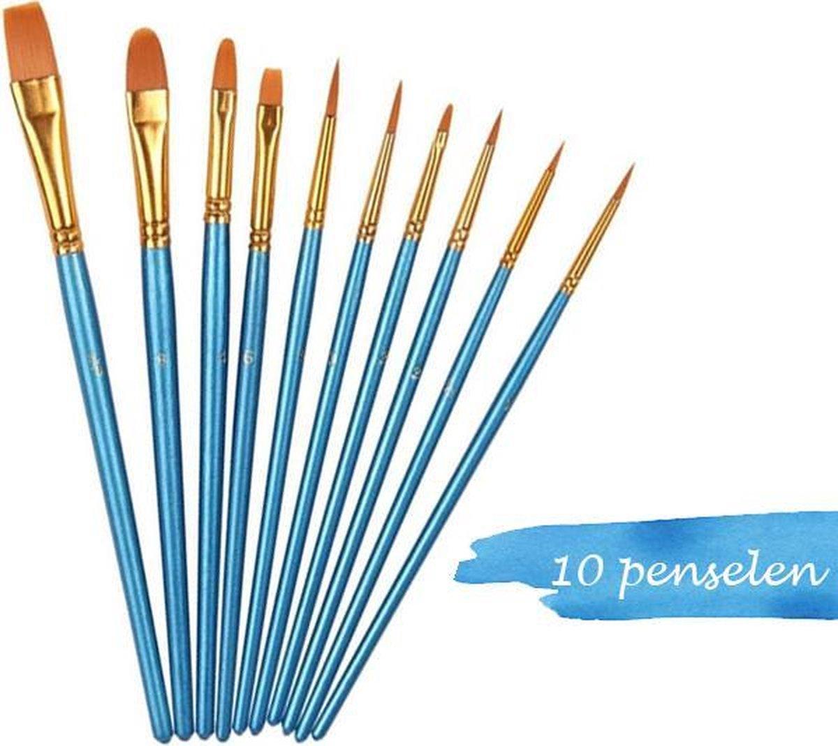 JDBOS ® Schilderen op nummer penselen - 10-delige Aquarel schilderset - verf penselen