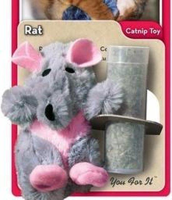 Kong Catnip Rat - Kattenspeelgoed - Grijs - 3,2 x 5,1 x 4,2 cm