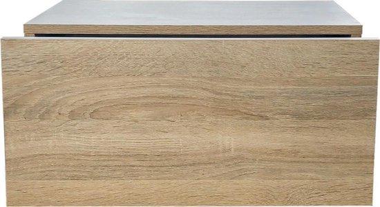 Zwevend nachtkastje - hangend halkastje - met lade - 50 cm breed - lichtbruin