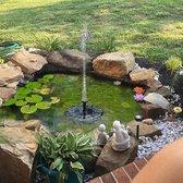 Drijvende Fontein op Zonnen Energie - Fontein - Vijver- Solar fontein - Milieuvriendelijk - inclusief 4 koppelstukjes