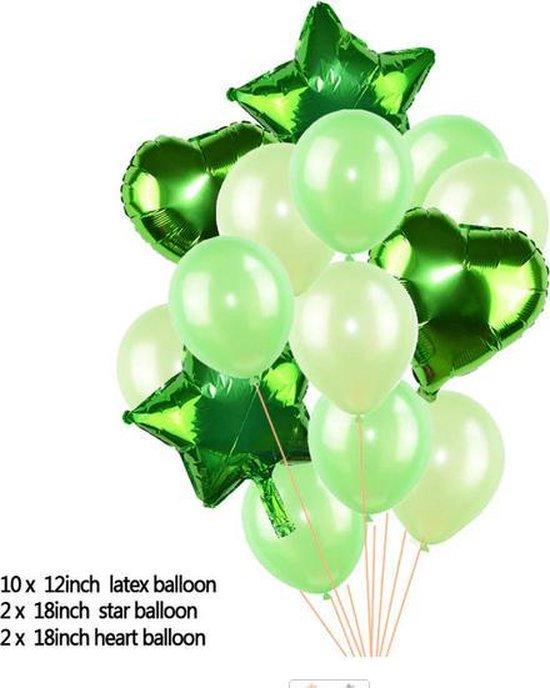 Ballonpakket 14 stuks Folieballonnen en Latexballonnen in Groen (31247)