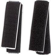 zelfklevend klittenband zwart - 0.5 m x 2 cm - 100% polyester - stevig klitteband