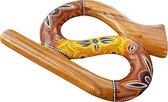 Slang Travel Didgeridoo - Handgeschilderde Snake Ronde Compacte Reis Didge van Mahonie LIDAH