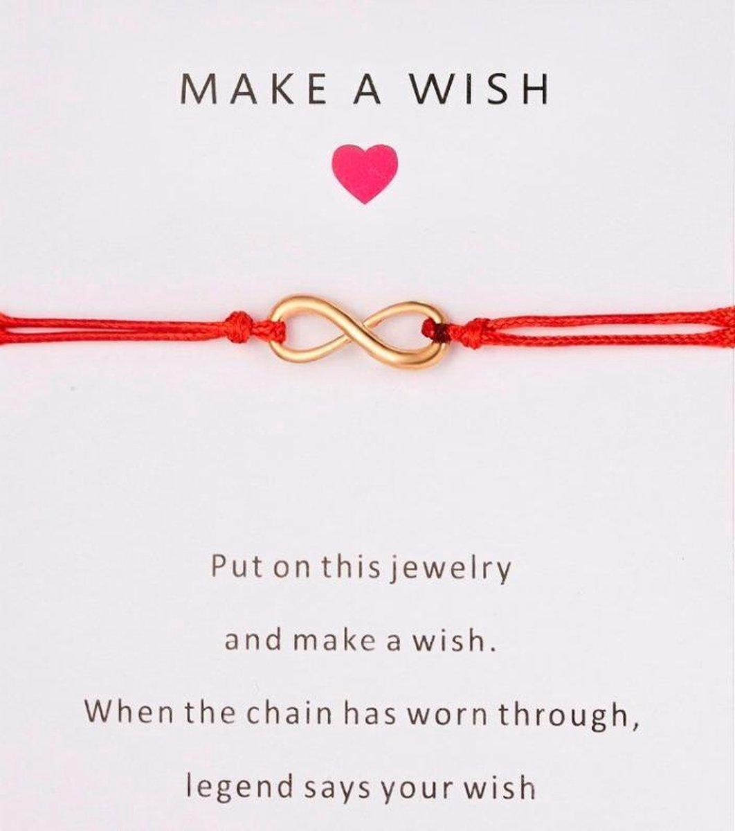 Rode armband - make a wish - hanger infinity