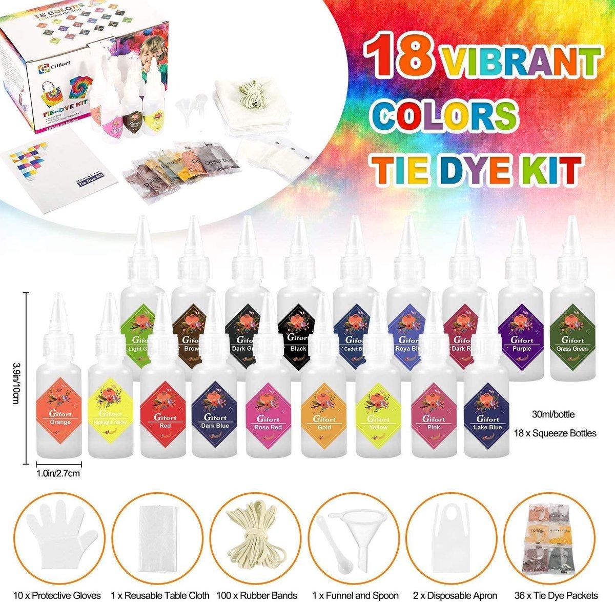 620 ml - TIE-DYE set van hoge kwaliteit - Complete 169 delige kit met 2 x 18 kleuren textiel pigment voor tot wel 40 werkstukken - Tie Dye verf premium kwaliteit