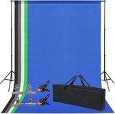 Supplyu Fotostudio Set Inclusief 5 Achtergronden & 6 Achtergrond Klemmen - Achtergrond Systeem (200cm*300cm) - Green Screen Achtergrond (160cm*300cm)