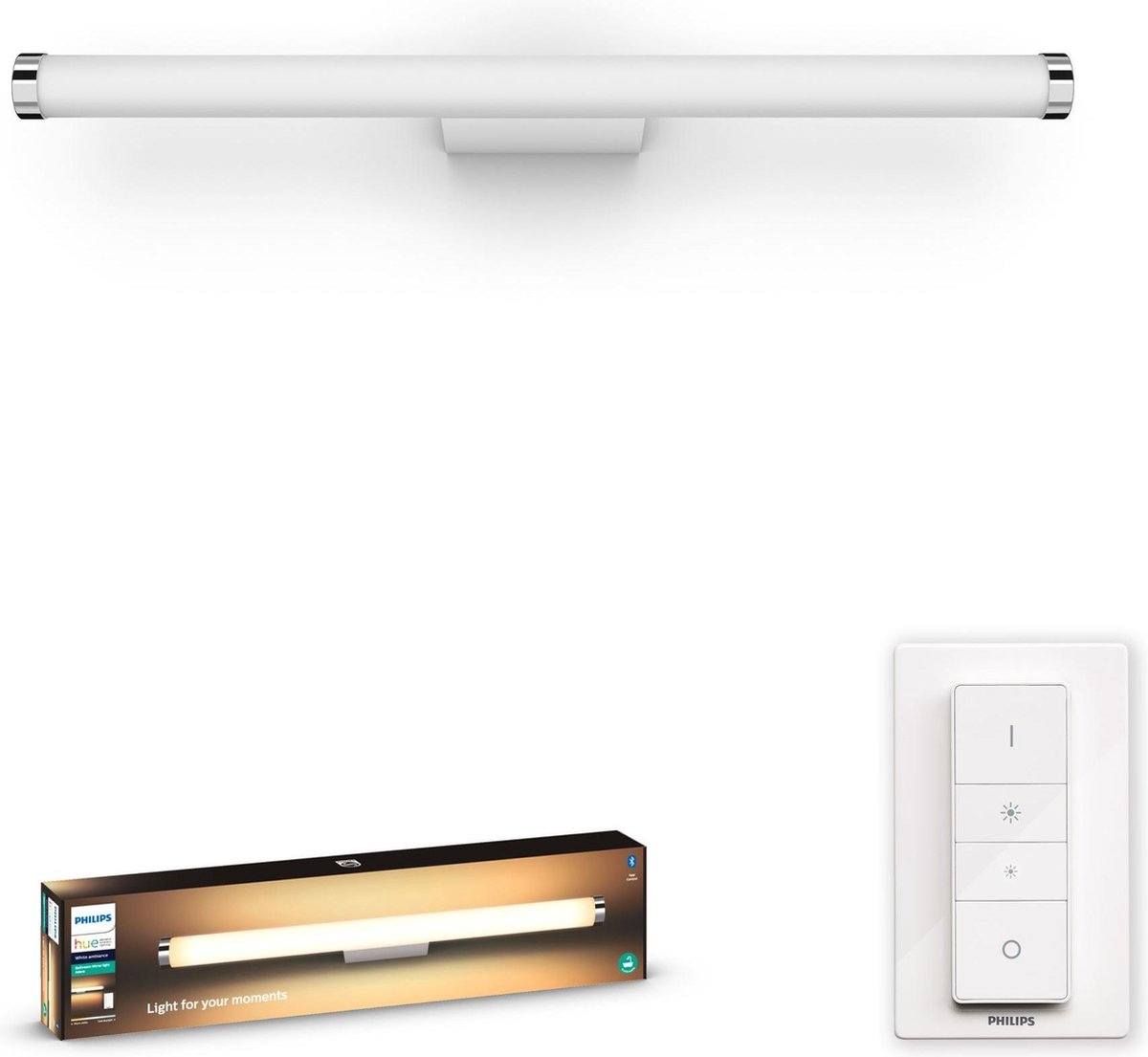 Philips Hue Adore Badkamer Wandlamp - White Ambiance - Geïntegreerd LED - Wit - 20W - Bluetooth - incl. Dimmer Switch