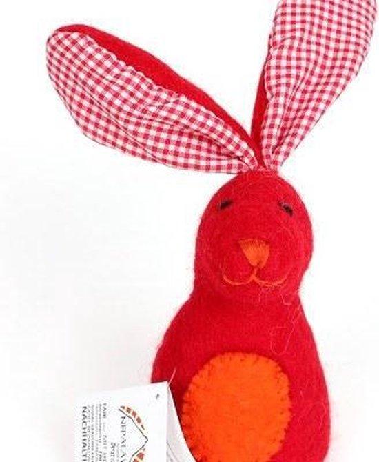 Nepalaya - Eierdopje - Eiermutsje - Egg Cosy Rabbit with Plaid Ears red  - rood - 20cm - Nepal - Fairtrade