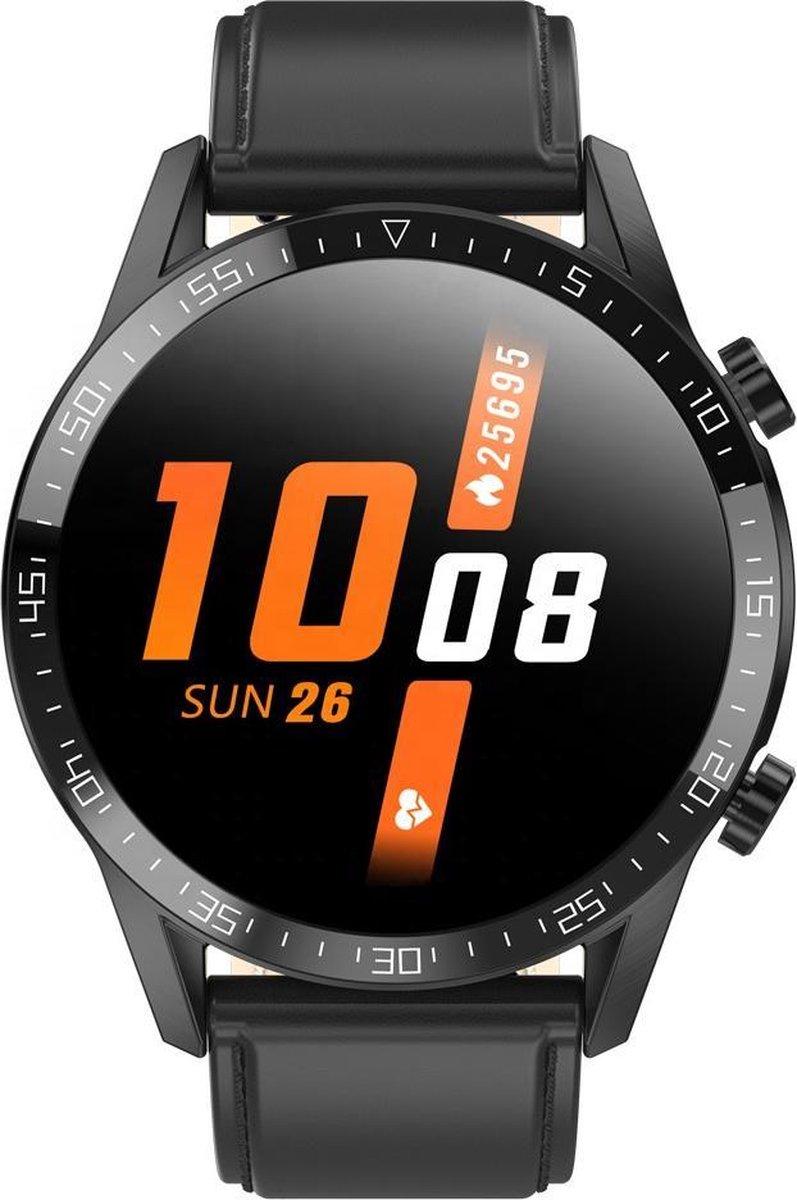 Belesy® Link - Smartwatch Dames - Smartwatch Heren - Horloge - Stappenteller - 1.4 inch - Kleurenscherm - Full Touch - Bluetooth Bellen - Leer - Zwart kopen