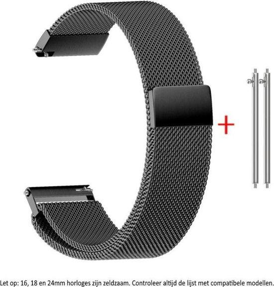 Zwarte Milanese Horloge Band 24 mm voor (zie compatibele modellen) Sony Smartwatch 2 SW2, Suunto Traverse, Sun, Fossil Q Nate Hybrid de Michael Kors Grayson, etc
