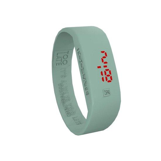 TOO LATE – siliconen horloge – ORIGINAL LED WATCH – Green sage – polsmaat M