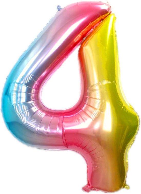 Folie Ballon Cijfer 4 Jaar Regenboog 86Cm Verjaardag Folieballon Met Rietje