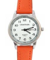 Horloge -Chaoyada -Oranje- Seconde aanduiding-Dames- Tiener- Leer- 3 cm- smalle pols