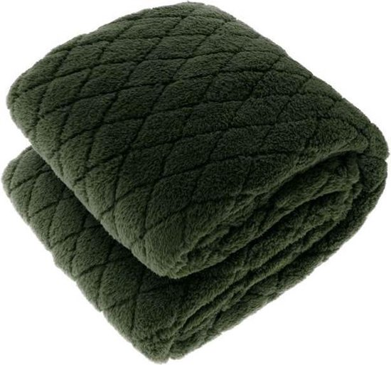 Unique Living Ezra - Fleece - Plaid - 150x200 cm - Dark Green