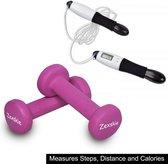 PRO Zexskie® Springtouw met digitale/elektronische teller inclusief 2 Dumbells van 1 kg Dumbells Set  Halterset  Halters gewichten Fitness Sport