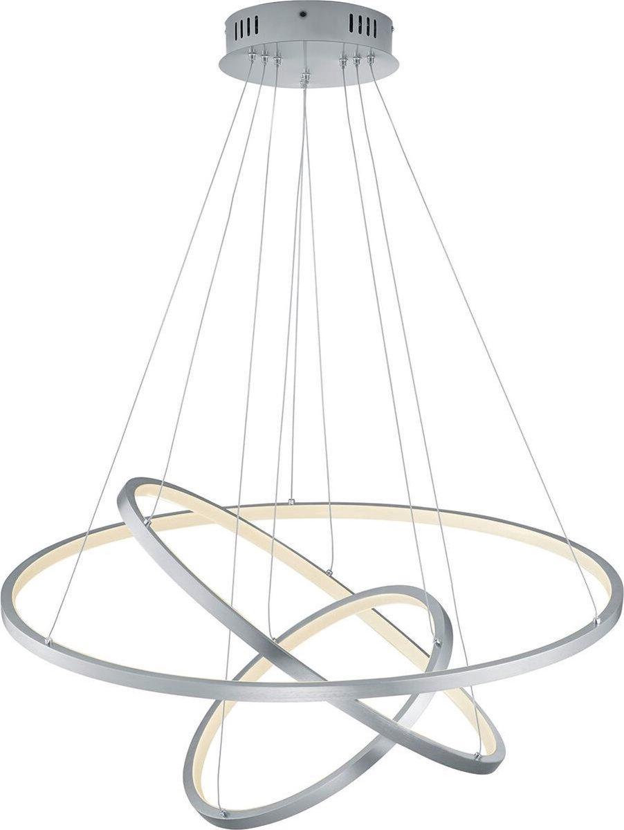 LED Hanglamp WiZ - Smart LED - Hangverlichting - Trion Noraan - 80W - Aanpasbare Kleur - RGBW - Rond - Mat Nikkel - Aluminium - BSE