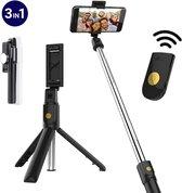 STHER© Selfiestick met Bluetooth Afstandsbediening - Selfie Stick - Selfie Stick Tripod - Zwart