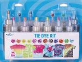 DIY 12 Kleuren Tie Dye - Mega Kit - Complete verfset voor je kleding en textiel - Regenboogkleuren - Hoogwaardige kwaliteit - Kindvriendelijk - Kleuren in de beschrijving -Incl. handschoenen, elastiekjes en Tafel Cover- Doe het zelf - DIY