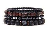 Armband - kralen - 4 losse snoeren - zwart lavasteen, glimmend en zwarte kralen en houten kralen - S