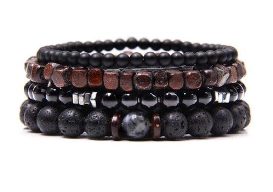 Armband - kralen - 4 losse snoeren - zwart lavasteen, glimmend en zwarte kralen en houten kralen - Sorprese - 20 cm - heren - unisex - model V