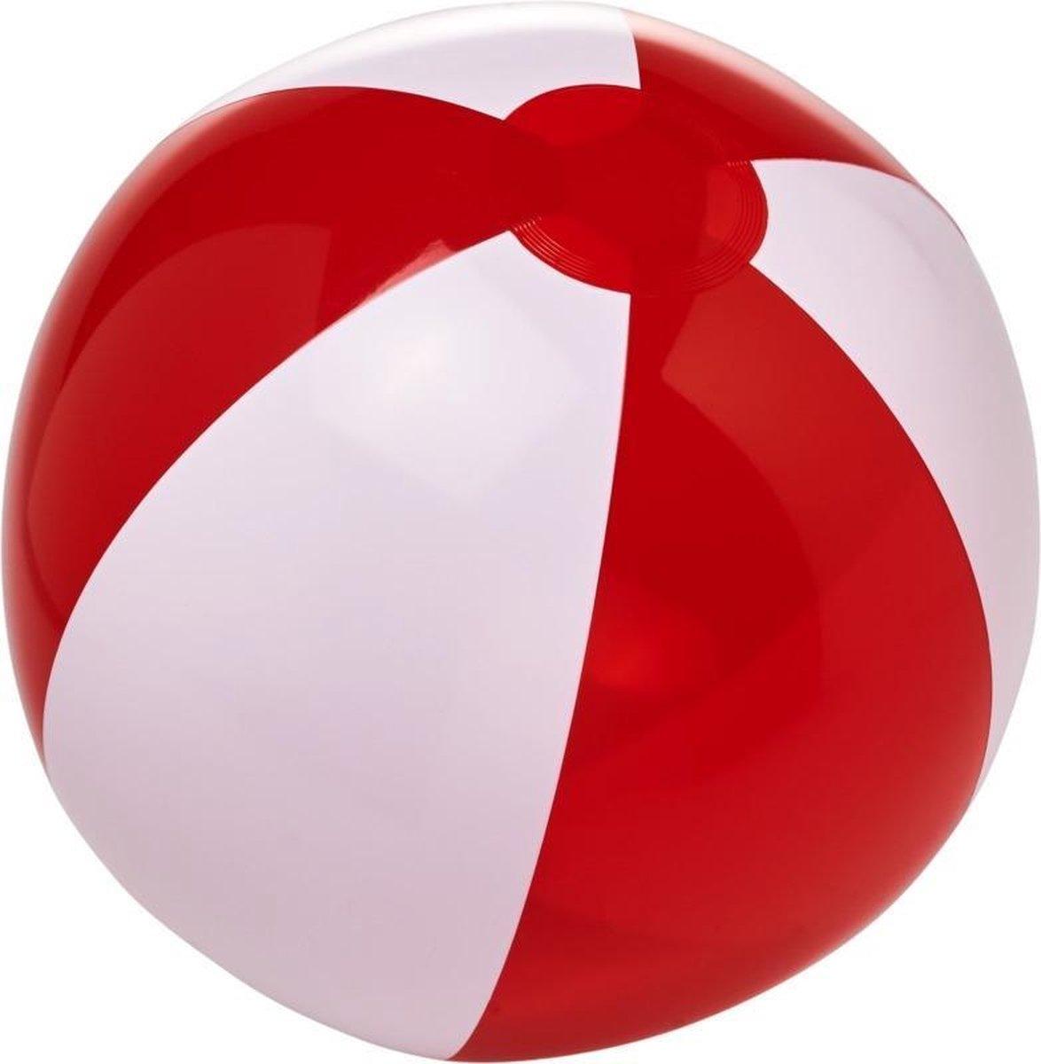 1x Opblaasbare strandballen rood/wit 30 cm - Buitenspeelgoed waterspeelgoed opblaasbaar