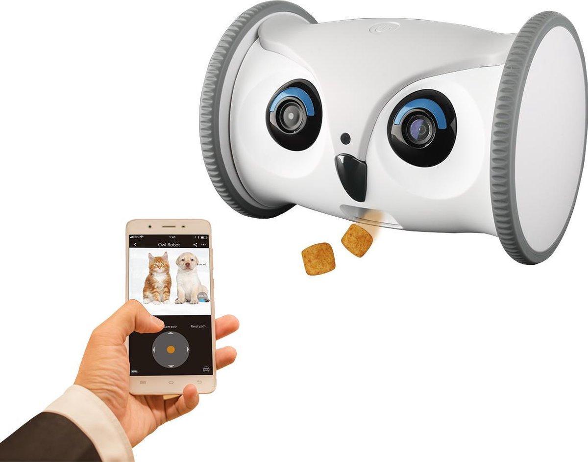 Skymee   Owl Robot voor Hond & Kat   Bestuurbaar en Rijdend Voerautomaat   Automatische Voerbak Snac