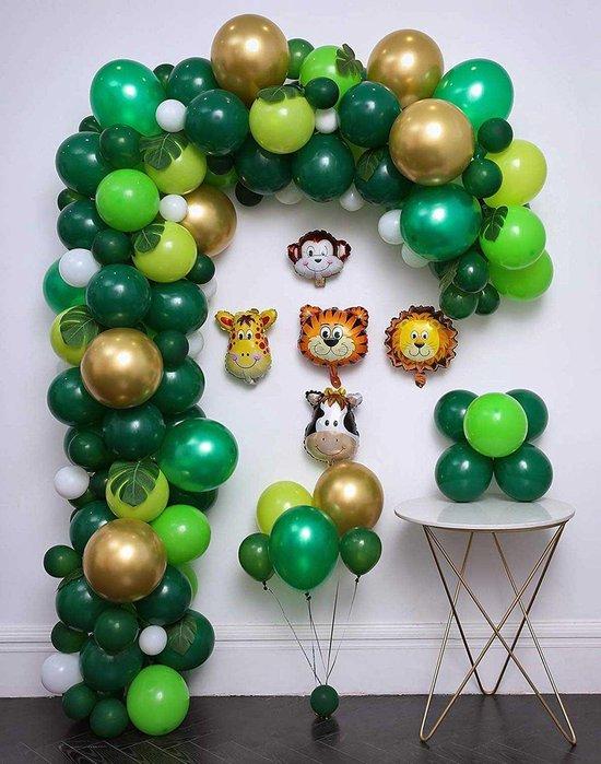 Safari Ballonnenboog van 97 Ballonnen met Pomp en Ophanghaakjes - DIY - Jungle - Groen - Goud - Kinderfeest - Verjaardag Versiering - 10 Palmbladeren - 5 Helium Jungle Dieren - Feest - 5 Meter - Decoratie - Ballonboog